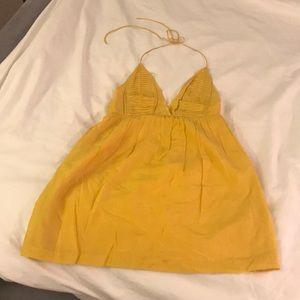 Ali Ro Silk Mustard yellow halter dress size 0